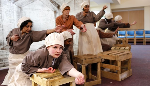 Actors performing a play about the experiences of women who worked in the Birmingham small arms factory during the war