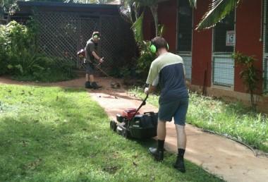 Graham and Jonathan mowing