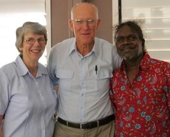 Jenny and Ken Stockton with Harry Garrawurra