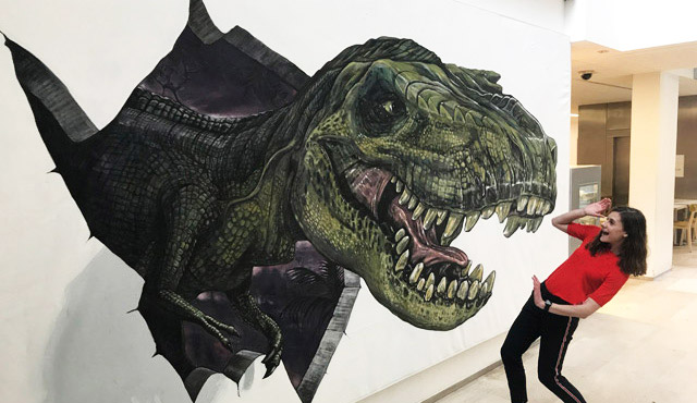 3D T.rex mural by artists 3D Joe and Max