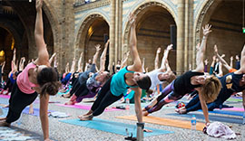 Yoga poses in Hintze Hall