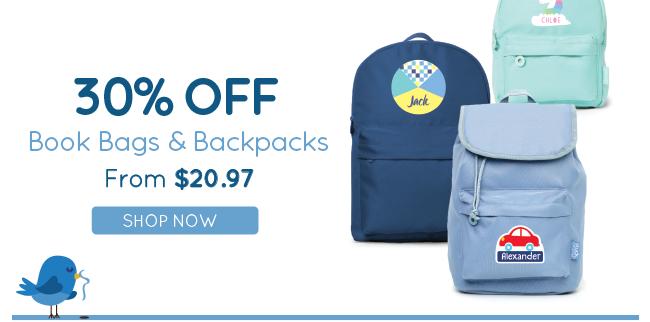 30% Off Book Bags & Backpacks!