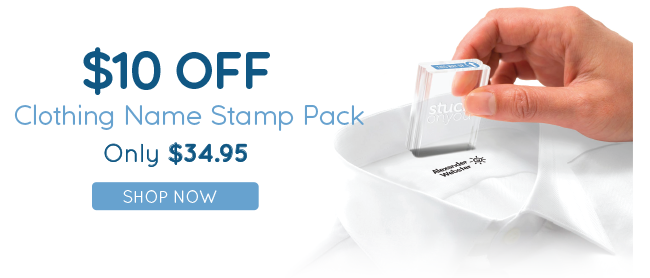 $10 Off Our Clothing Name Stamp Packs!