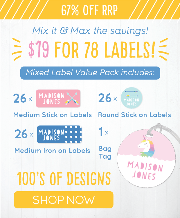 67% OFF RRP. Mix it & Max the savings! $19 for 78 Labels! Mixed Label Value Pack includes: 26 x Medium Stick on Labels. 26 x Round Stick on Labels. 26 x Medium Iron on Labels. 1 x Bag Tag. 100's of designs. SHOP NOW!