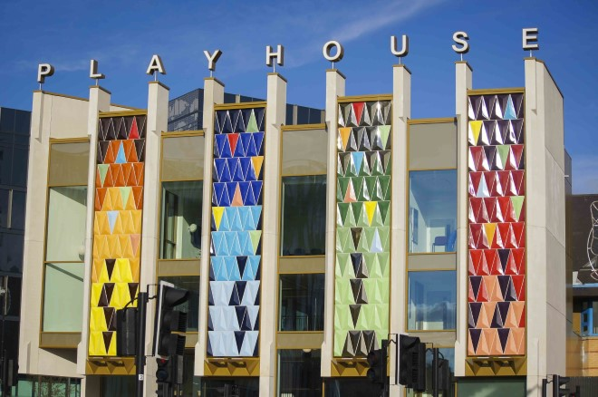 An image of the front of the Playhouse building tiles