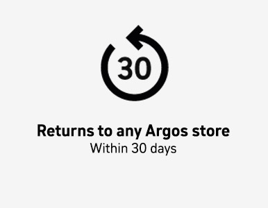 Returns to any Argos store within 30 days.