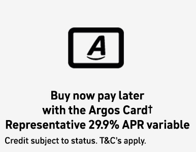 Buy now pay later with Argos Card. Representative APR 29.9% APR variable.