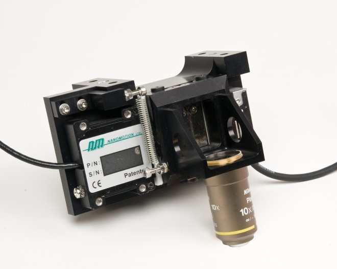 Nanomotion focus axis designed to mount to an overhanging beam