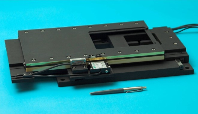 Open frame XY microscope stage, driven with Nanomotion motors and 10nm encoder resolution