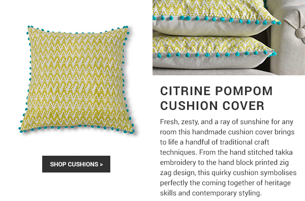 Citrine Pompom cushion cover