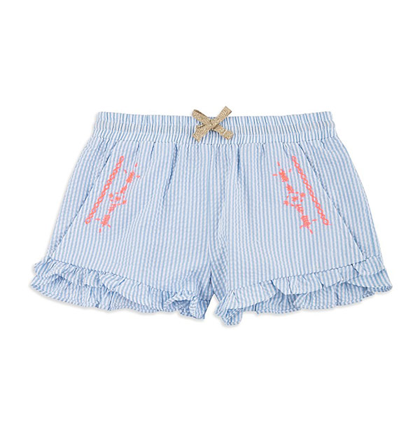 Girls Striped Cotton Shorts - Blue