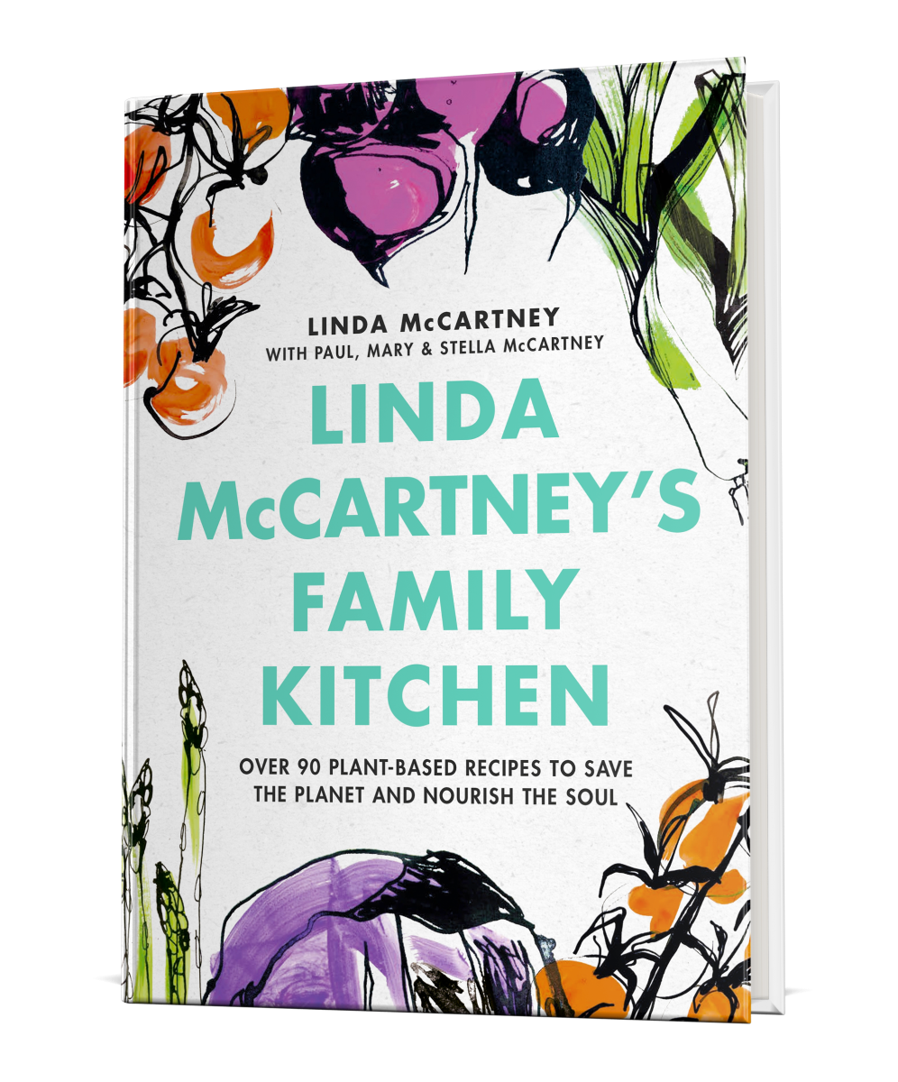 The cover for 'Linda McCartney's Family Kitchen' cookbook.