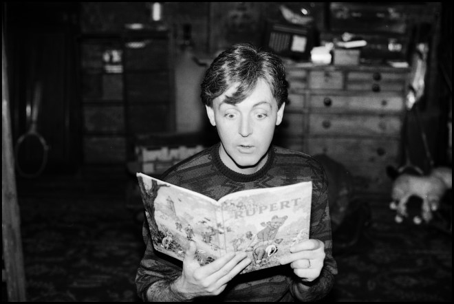 Photo of Paul reading a Rupert The Bear Annual