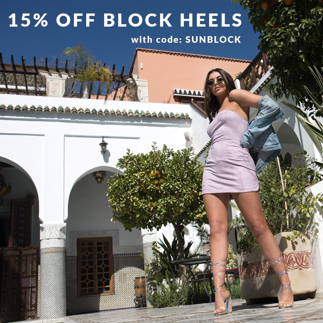 15% OFF BLOCK HEELS