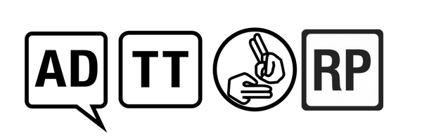 Logos: Audio Description, Touch Tour, British Sign Language, Relaxed Performance